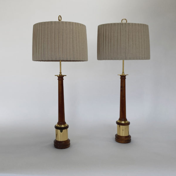 Pair of Turned Mahogany and Brass Column Lamps. 20th Century