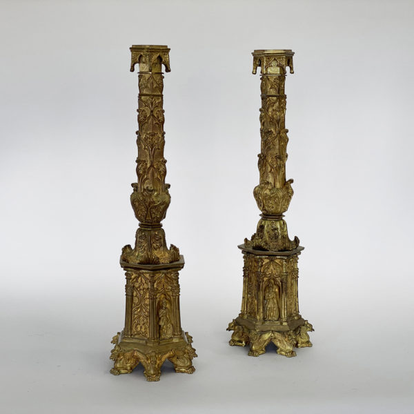 Pair of Bronze Doree Gothic Candlesticks. Circa 1900