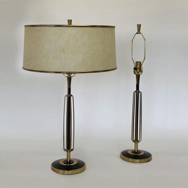 Pair of Mid Century Brass and Enamelled Mid Century Decorative Lamps. 20th Century.