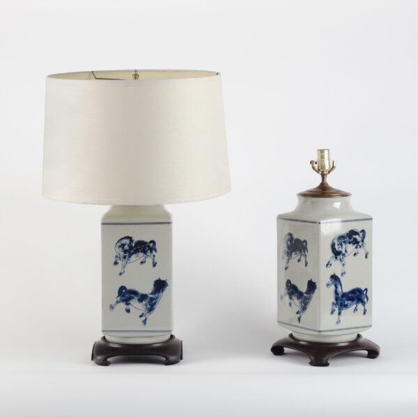 Pair of Unusual Blue and White Lamps of Rectangular Form. 20th Century