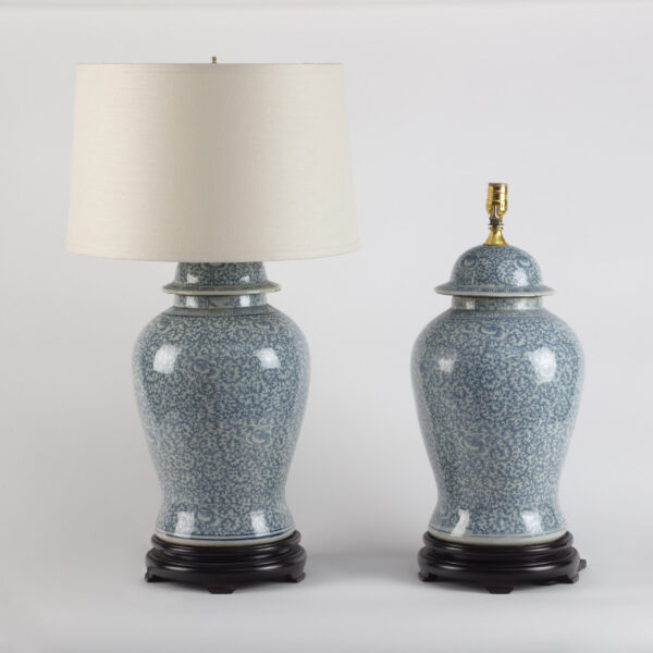 Pair Chinese Blue and White Temple Jar Lamps 20th Century