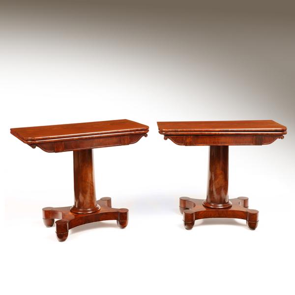 A Pair of American Mahogany Tea Tables from New York or Boston. Circa 1830
