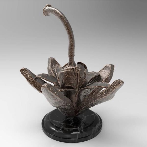 Cast Bronze Mahogany Seed Desk Object