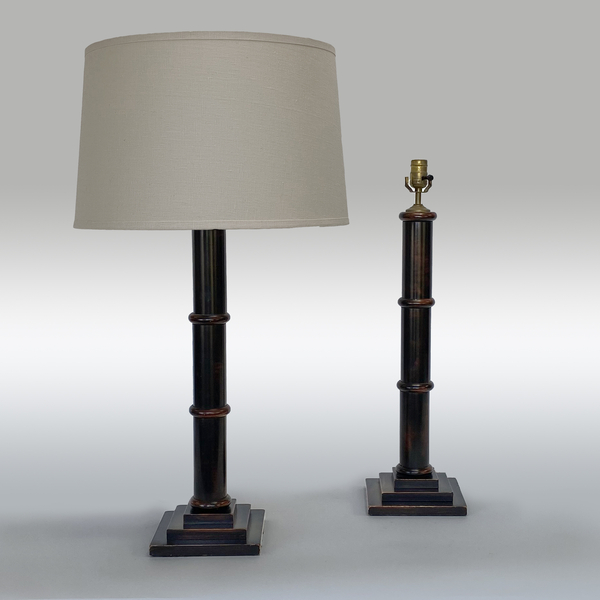 Pair Of Wood Turned And Lacquered Column Lamps. 20th Century