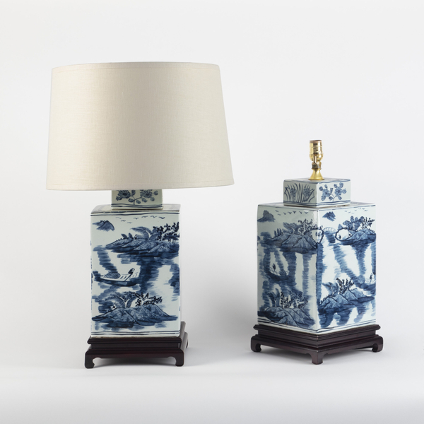 Pair Chinese Large Blue and White Porcelain Rectangular Lamps