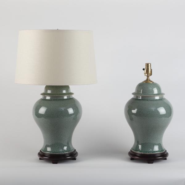 Pair of Chinese Crackle Celadon Porcelain Temple Jar Lamps. 20th Century