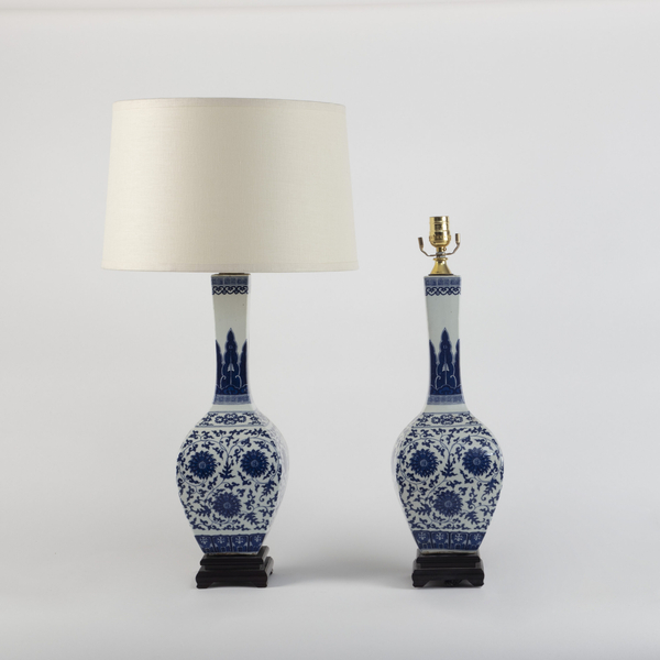 Pair Chinese Blue and White Gourd Shaped Lamps 20th Century
