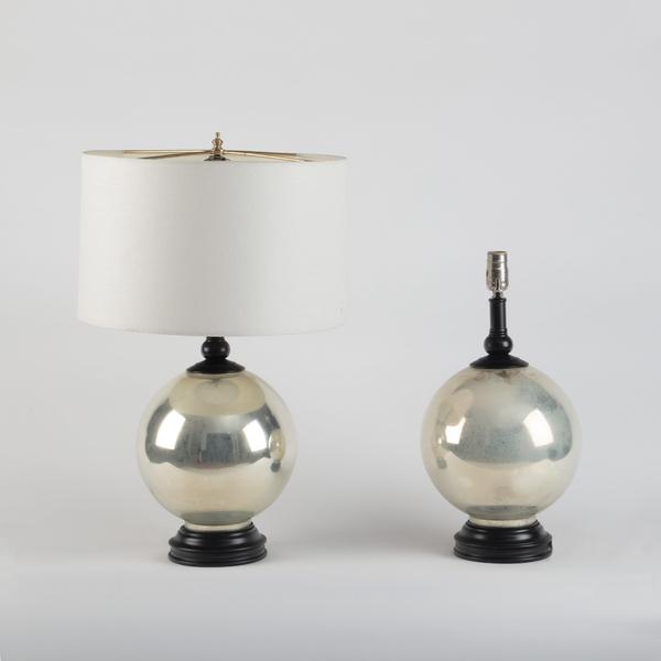 Pair Mercury Glass Globular Lamps. 20th Century
