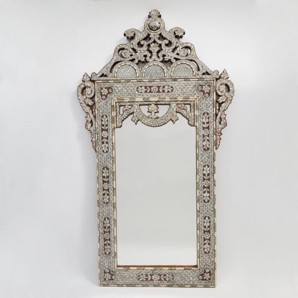 Moroccan Bone Inlaid Mirror, 20th Century